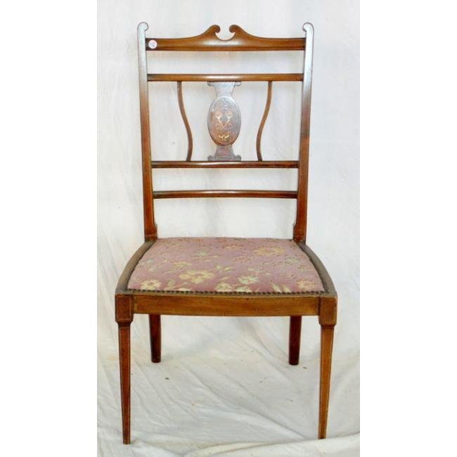 Edwardian Inlaid Mahogany and Rosewood Side Chair.