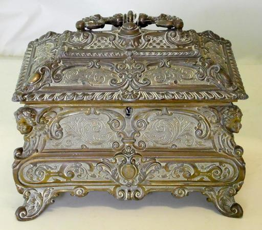 Magnificent French Cast Gilt Metal Jewellery Casket