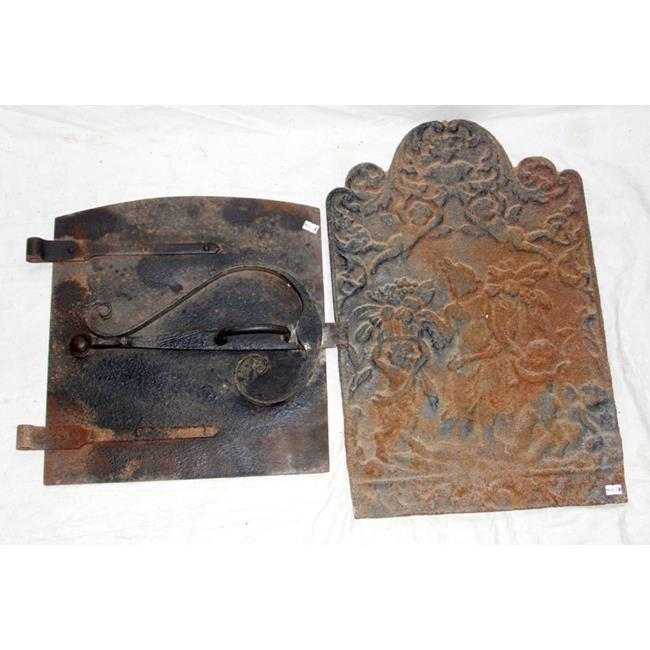 Antique Cast Iron Fire Back & Oven Fire  Door.
