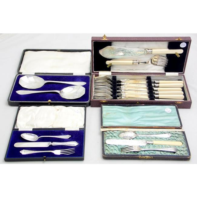 Cased Sets of Antique Sliver Plate EPNS Flatware
