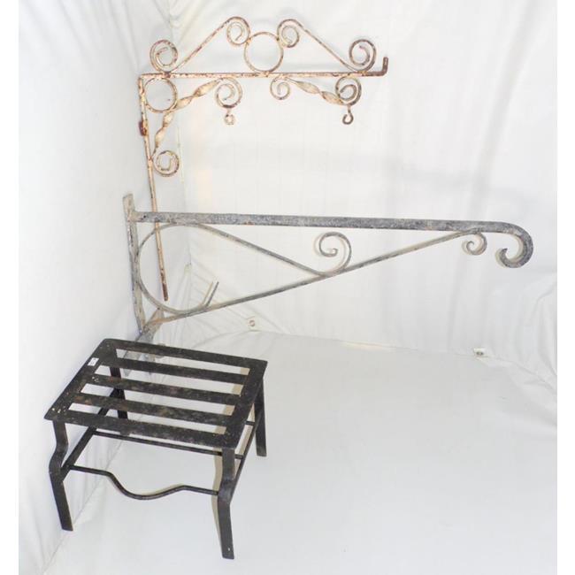 Antique Wrought Iron Large  Hanging Brackets