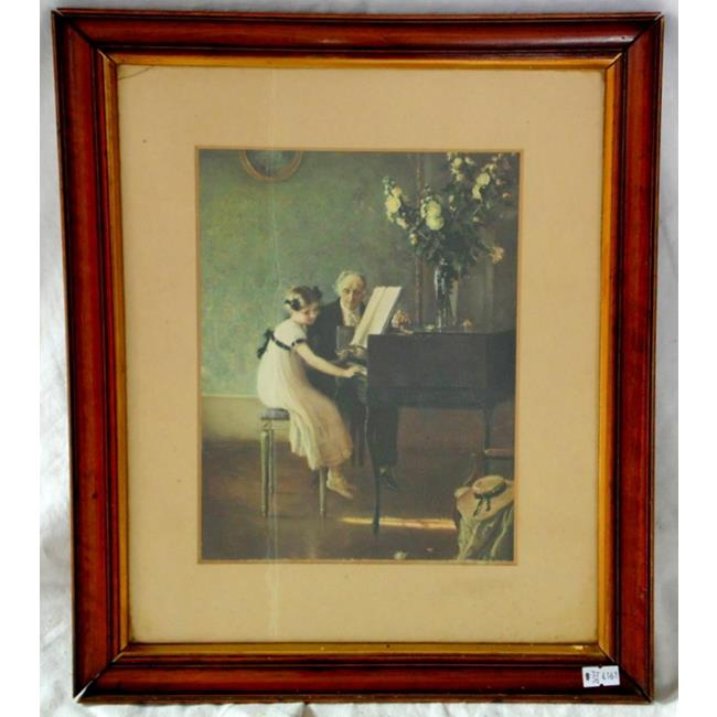 Vintage Framed Print 'Young Girl Playing Piano'
