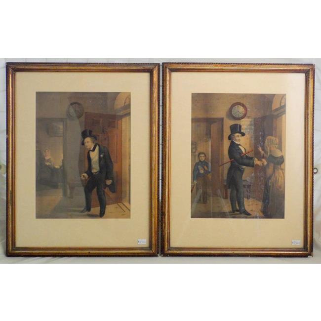 Antique Pair of German Stipple Prints.