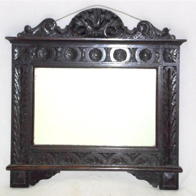 Victorian Carved Oak Overmantle Mirror  19thc.