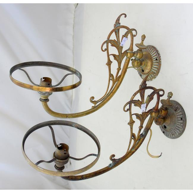 A Pair of Antique Brass Wall Oil Lamp Sconces