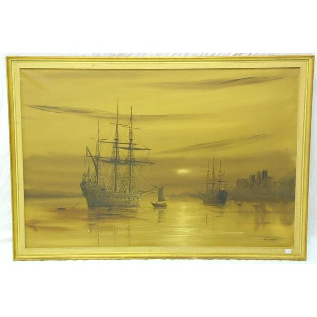 John Bampfield Oil on Canvas 'Ships at Dusk'