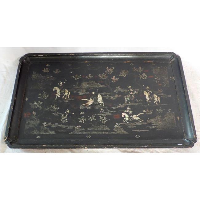 Meiji Huge Black Lacquer and Shibayama-inlaid Tray