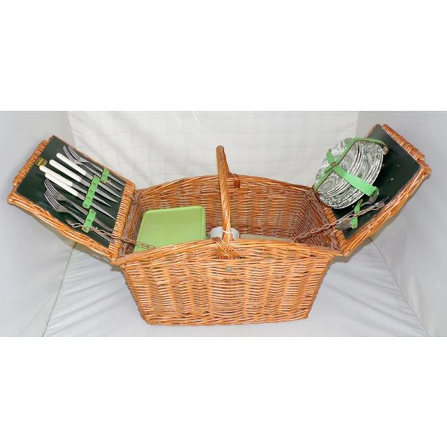 Vintage Brexton Woven Wicker  Picnic Hamper Set 4