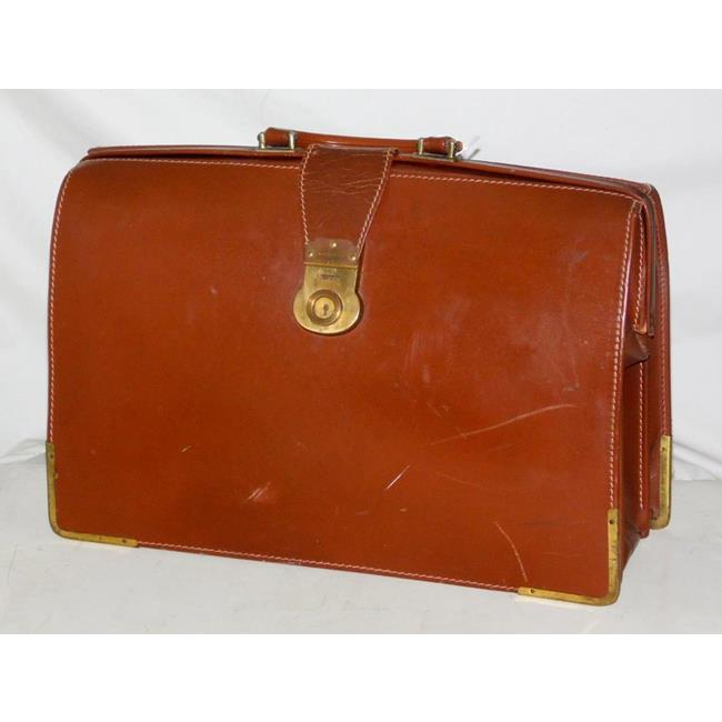 Vintage Brown Leather Briefcase. Made in England.