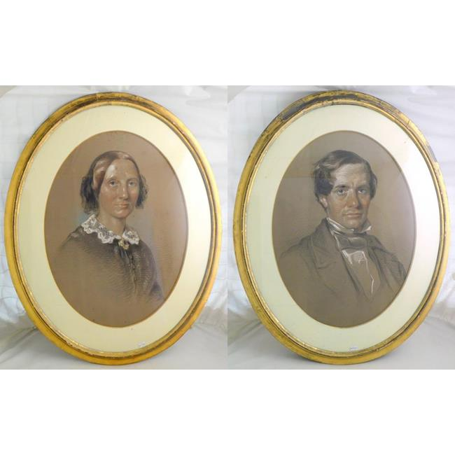A Pair of Oval Framed Chalk Portraits
