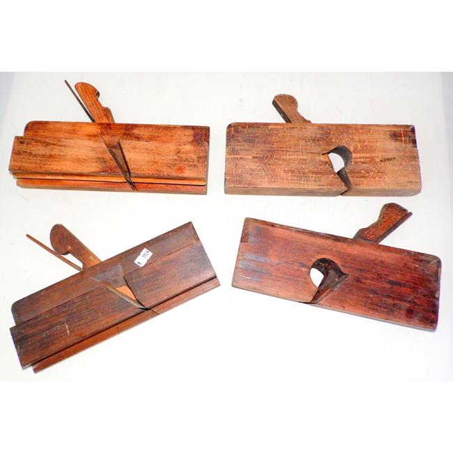 Antique Carpenters Wooden Moulding Planes x 4.