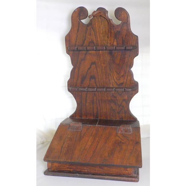 Antique Welsh Oak Spoon Rack and Salt Box