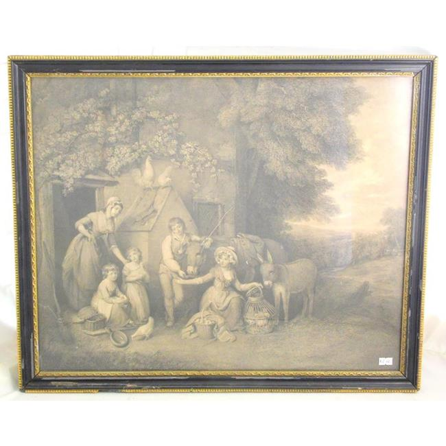 "Antique Mezzotint""Farmyard Scene"". 19thc"