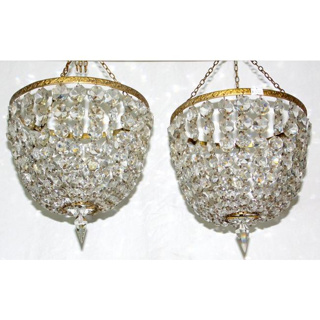 A Pair of Vintage Circular Crystal Chandeliers