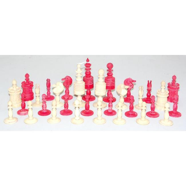 A Complete Set of Antique Ivory Chess Men. Circa .