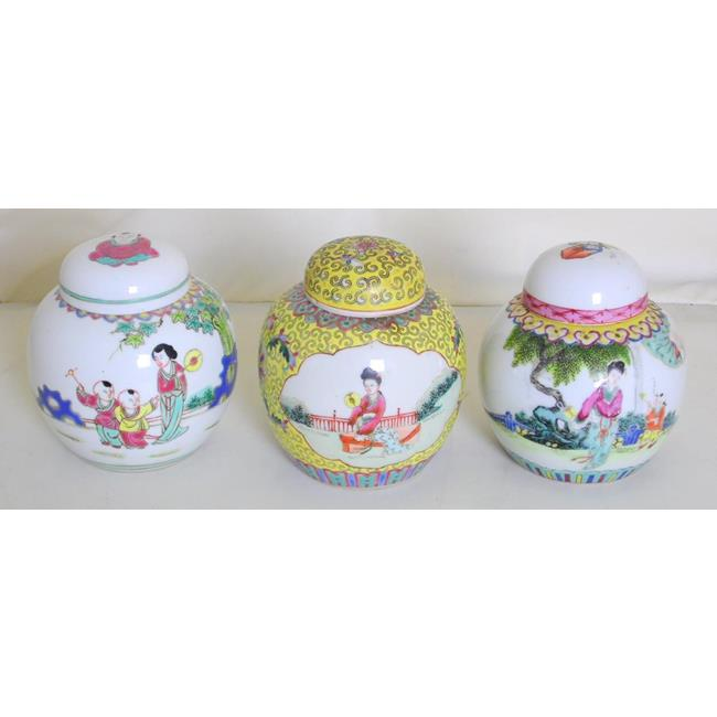 Chinese Famille Vert Ginger Jars x3 early 1900's