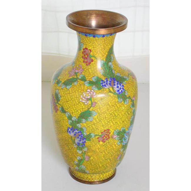 Antique Yellow Chinese Cloisonne Vase. 19thc.