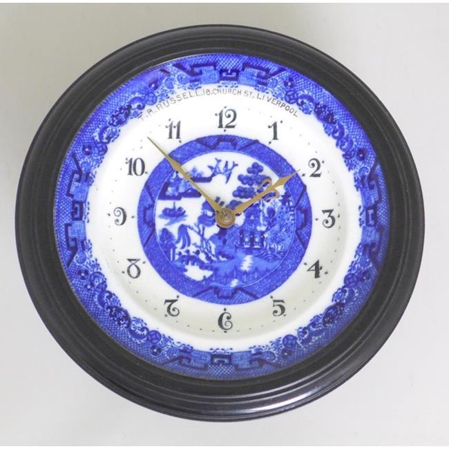 Antique Minton Blue & White Plate Clock. 19thc