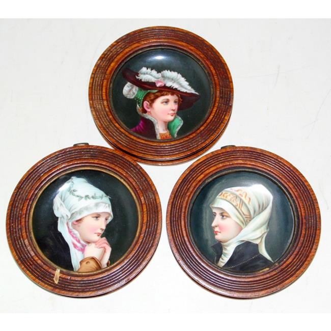 Antique Vienna Victorian Ladies Portrait Plates