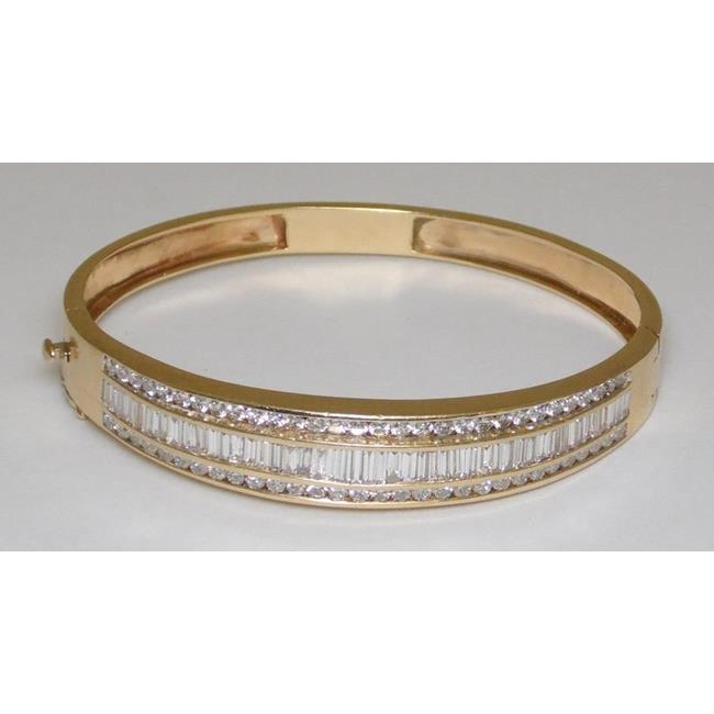 A Fine 14ct Yellow Gold 5.00cts Diamond Bangle