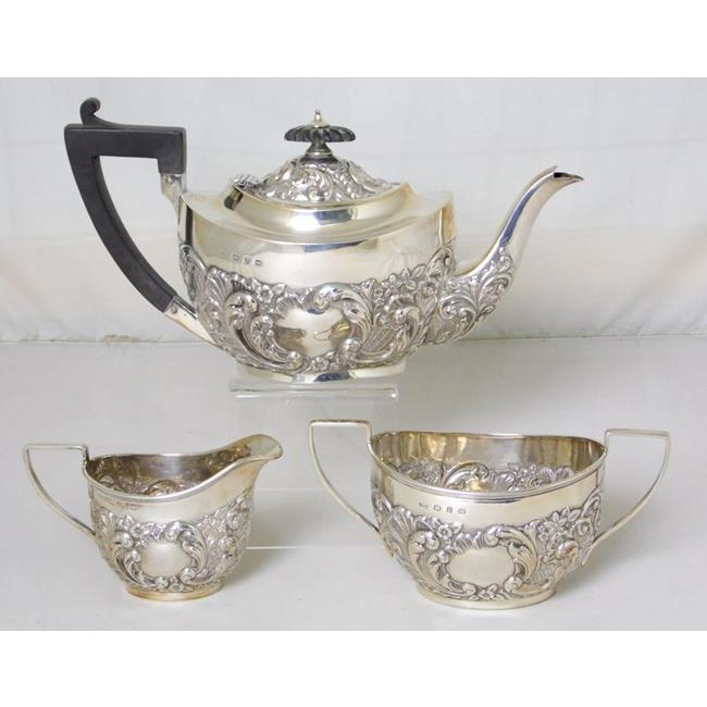 Victorian Sterling Silver Tea Set by John Hines