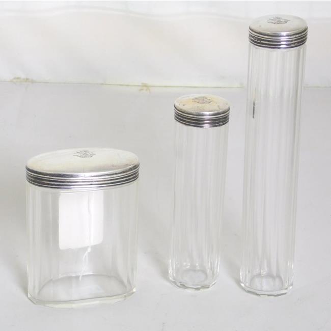 Sterling Silver Lidded Dressing Table Jars c.1904.