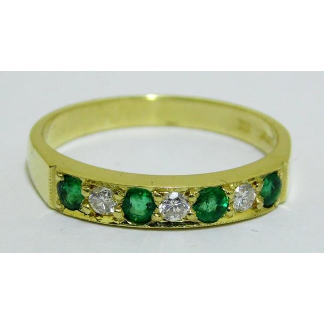 Good 18ct Yellow Gold Emerald and Diamond Ring