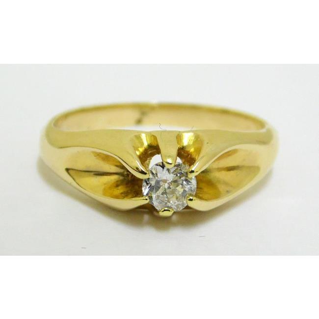 14ct Yellow Gold White Diamond Solitaire Ring