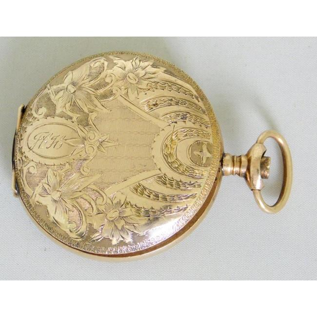 Antique 8ct  Yellow Gold Engraved Watch Case