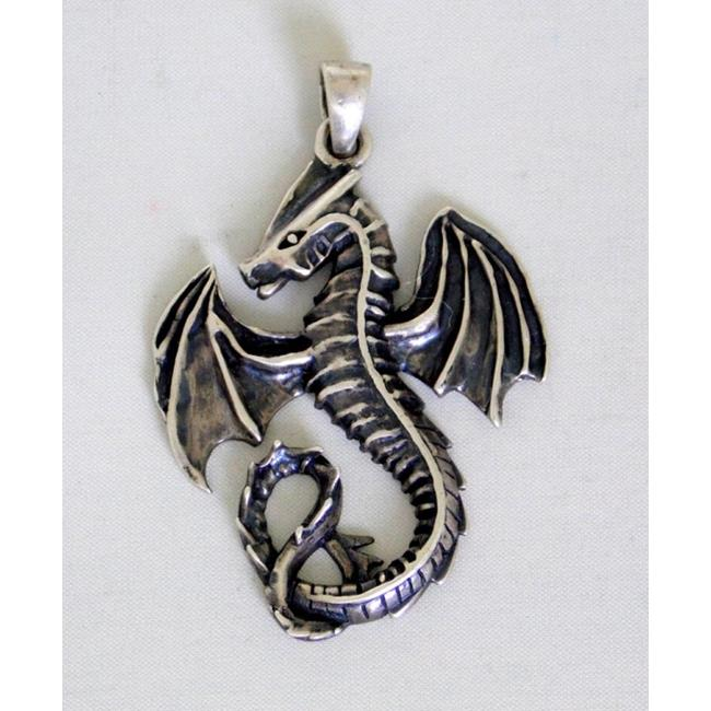 Sterling Silver Gothic Dragon Pendant.