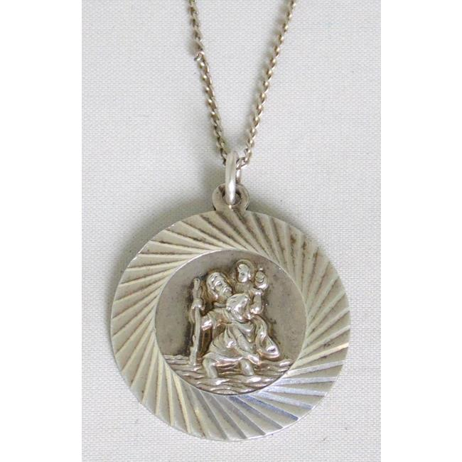 Sterling Silver St Christropher Pendant with Chain