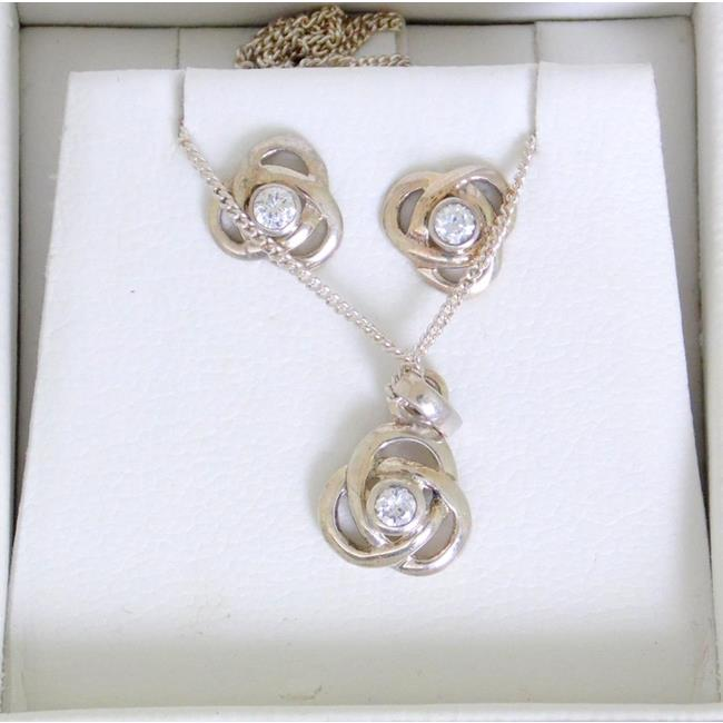 Silver Celtic Knot Earrings and Necklace Set
