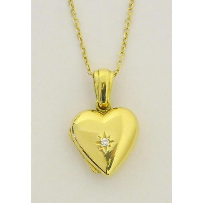 18ct Yellow Gold Diamond Set Heart Locket