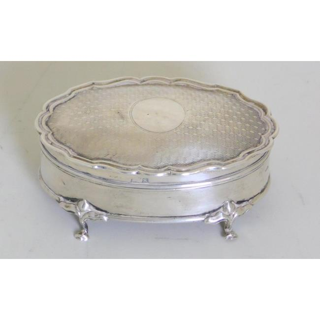 Sterling Silver Trinket Box with Hinged Lid.