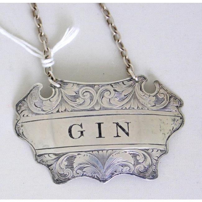 Sterling Silver 'Gin' Decanter Label c.1902