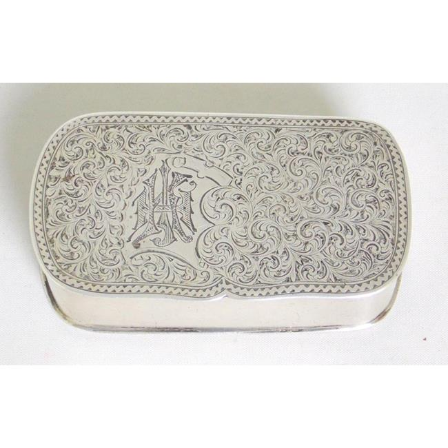 Victorian Sterling Silver Engraved Snuff Box