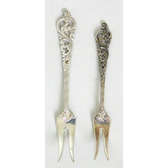Silver Pastry / Sweetmeat Forks x2.