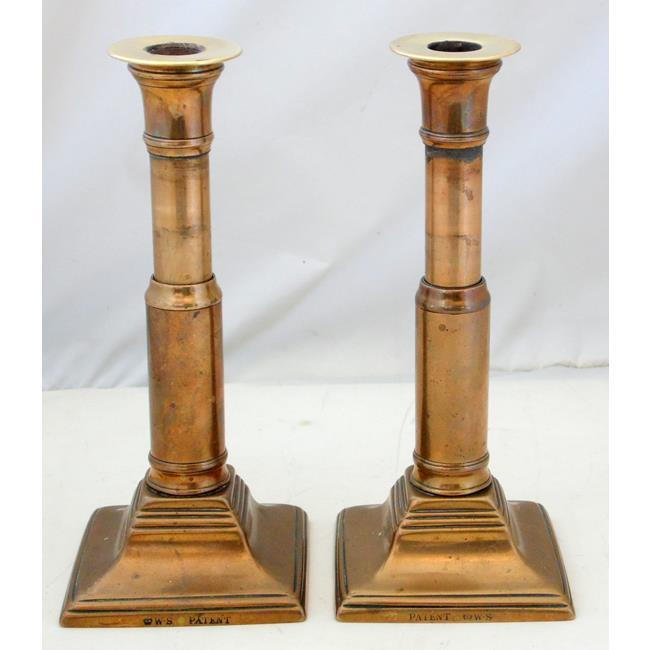 Pair of Georgian Telescopic Brass Candlesticks