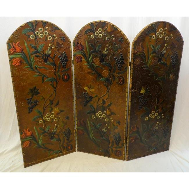 Antique Continental Hand Painted Leather Screen