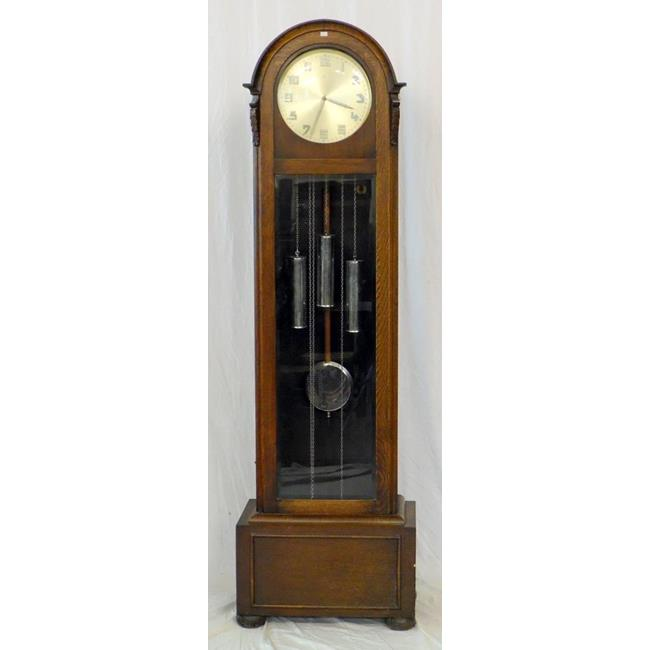 An Art Deco Oak Longcase Clock. 20th Century.