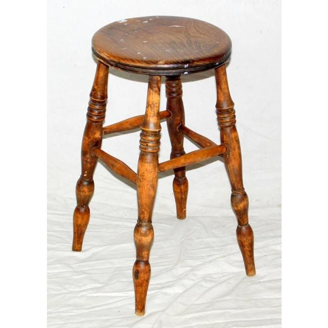 Victorian Elm and Beech Stool. Early 1900s.
