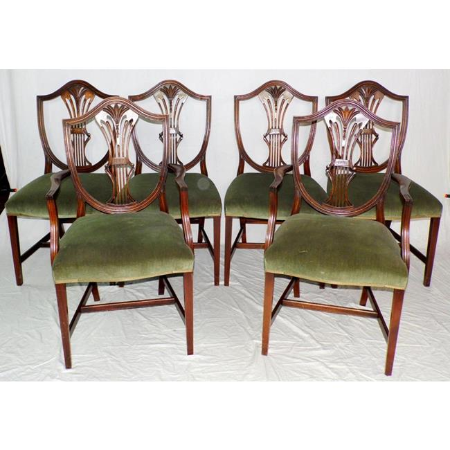 Regency Style Mahogany Shield Back Dining Chairs..