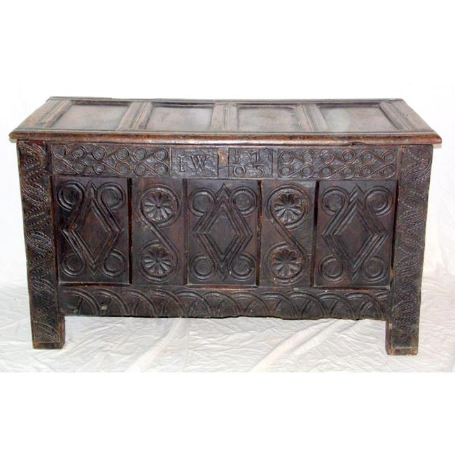 Antique Carved Oak Coffer Dated 1703.