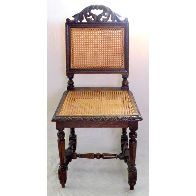 Victorian Carved Oak Bergere Chair. 19th Century