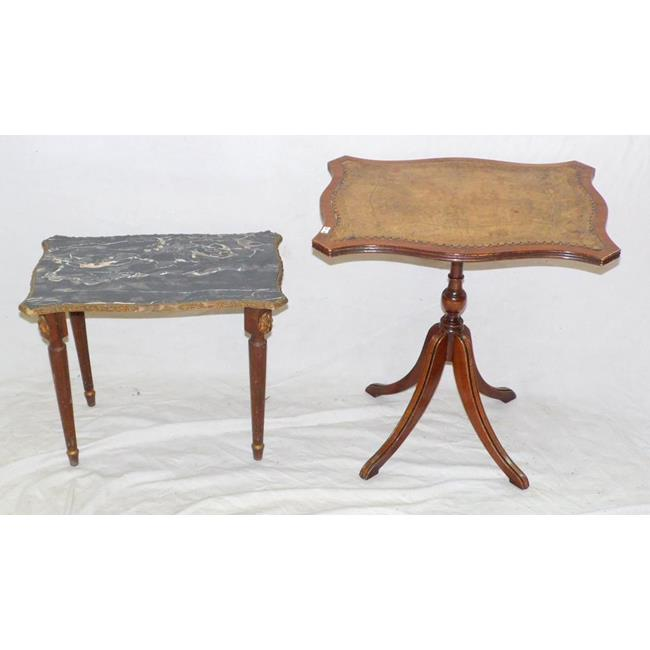 Vintage Tooled Leather Top Table