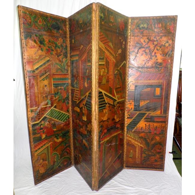 A Fine Dutch Chinoiserie Leather Four-Leaf Screen.