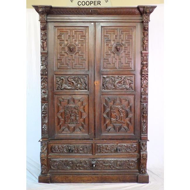 A Large Flemish Stained Oak Cupboard.17th/19thc