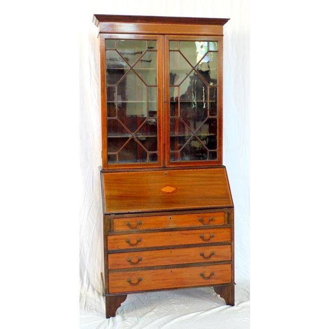 Edwardian Inlaid Bureau Bookcase. Early 1900's