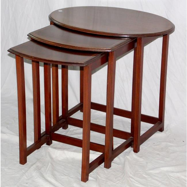 Trio of Edwardian Inlaid Mahogany Tea Tables.