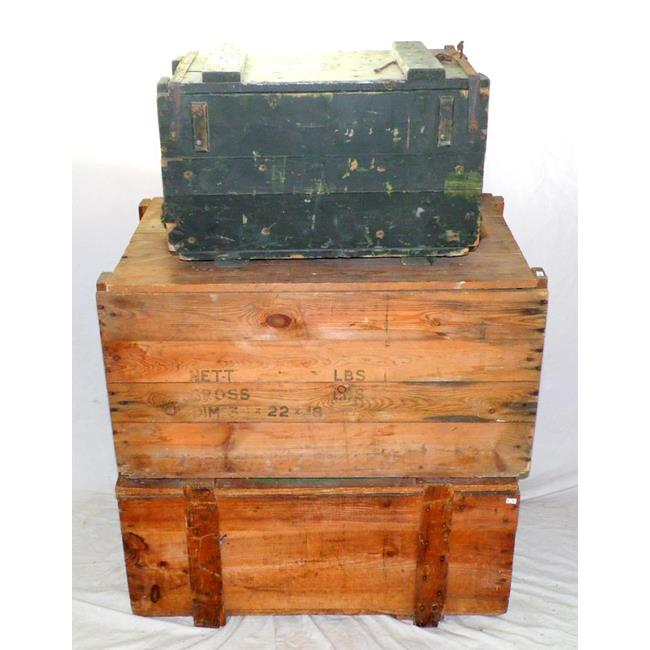 Old Wooden Ammo and Storage Crates. 20thc